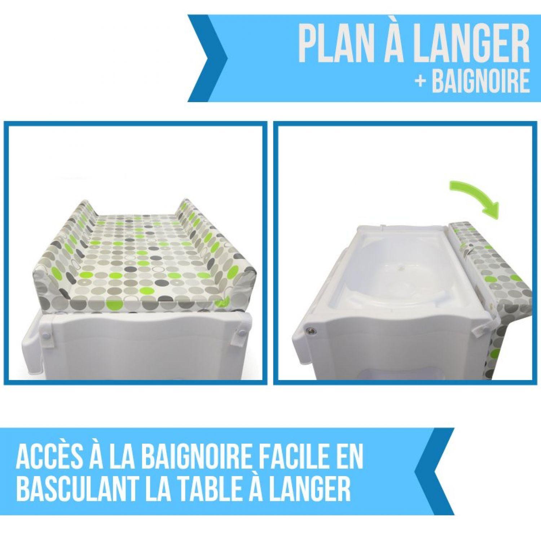 miniature 25 - MONSIEUR BÉBÉ ® TABLE À LANGER AVEC BAIGNOIRE INTÉGRÉE ET RANGEMENTS /