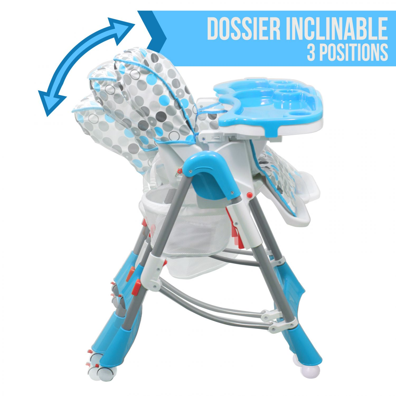 miniature 4 - MONSIEUR BEBE ® CHAISE HAUTE ENFANT PLIABLE RÉGLABLE HAUTEUR DOSSIER ET