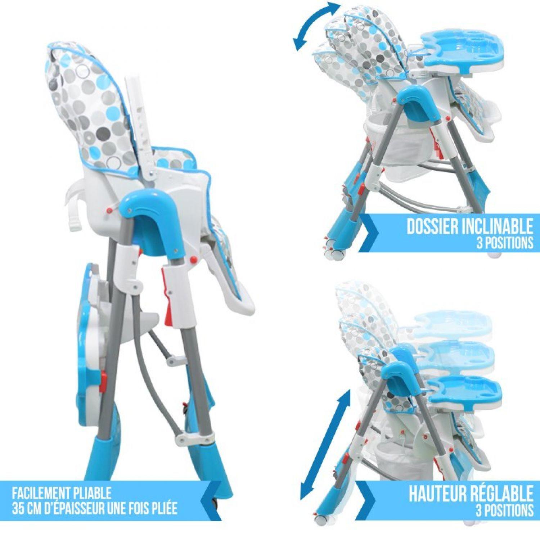 miniature 11 - MONSIEUR BEBE ® CHAISE HAUTE ENFANT PLIABLE RÉGLABLE HAUTEUR DOSSIER ET