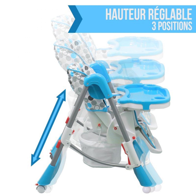 miniature 5 - MONSIEUR BEBE ® CHAISE HAUTE ENFANT PLIABLE RÉGLABLE HAUTEUR DOSSIER ET