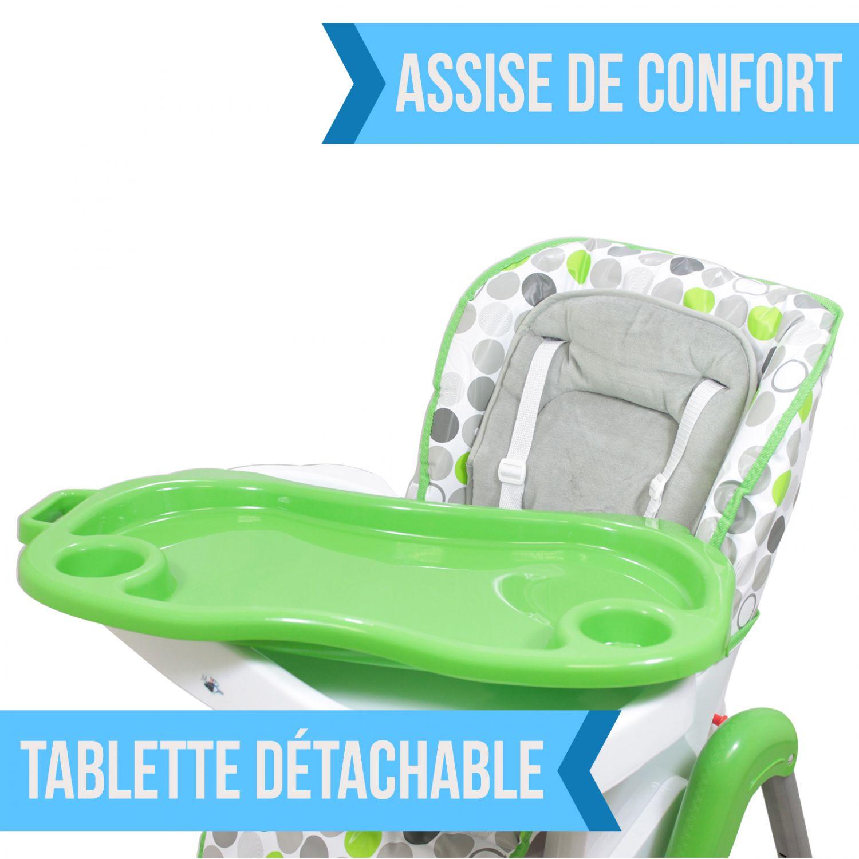miniature 62 - MONSIEUR BEBE ® CHAISE HAUTE ENFANT PLIABLE RÉGLABLE HAUTEUR DOSSIER ET