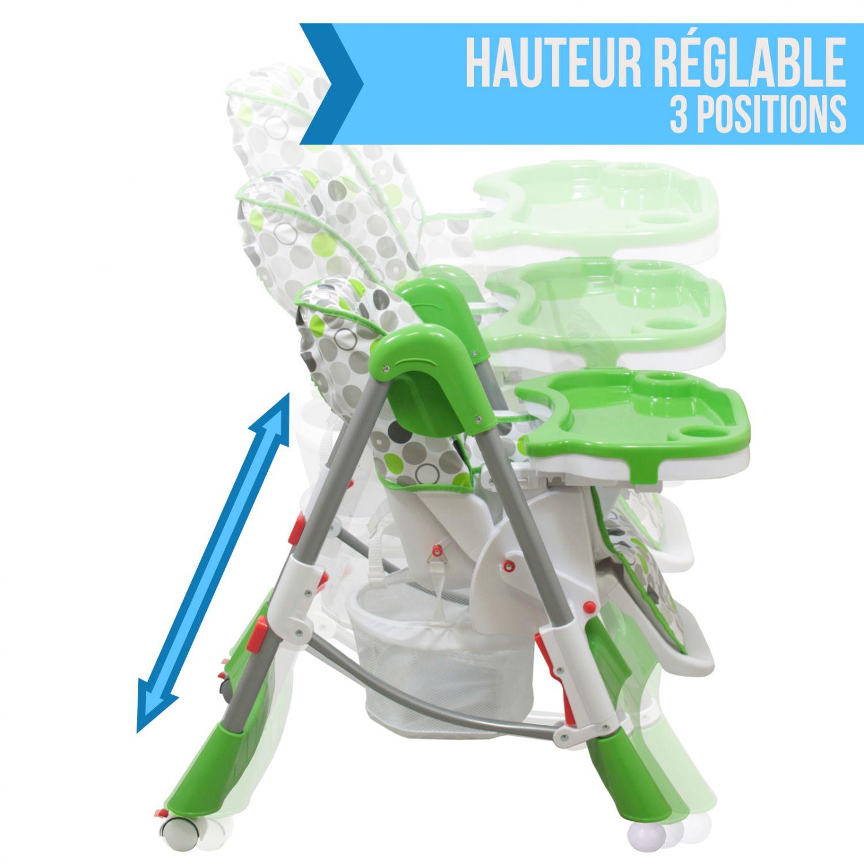 miniature 60 - MONSIEUR BEBE ® CHAISE HAUTE ENFANT PLIABLE RÉGLABLE HAUTEUR DOSSIER ET