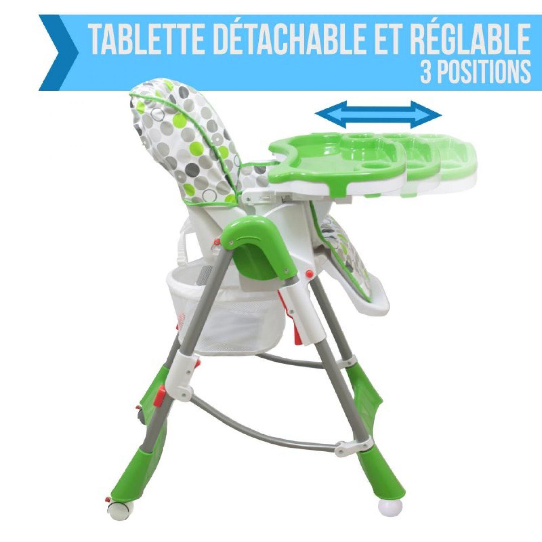 miniature 61 - MONSIEUR BEBE ® CHAISE HAUTE ENFANT PLIABLE RÉGLABLE HAUTEUR DOSSIER ET