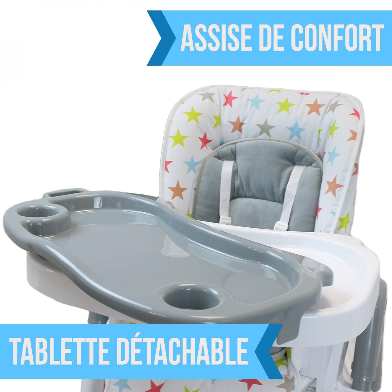 miniature 40 - MONSIEUR BEBE ® CHAISE HAUTE ENFANT PLIABLE RÉGLABLE HAUTEUR DOSSIER ET