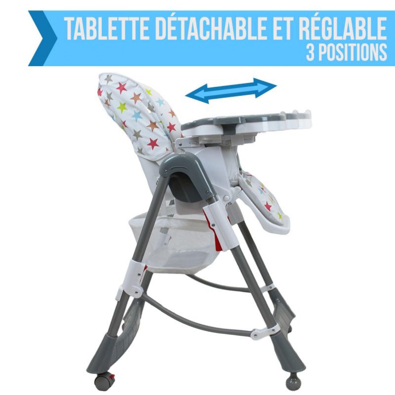 miniature 39 - MONSIEUR BEBE ® CHAISE HAUTE ENFANT PLIABLE RÉGLABLE HAUTEUR DOSSIER ET