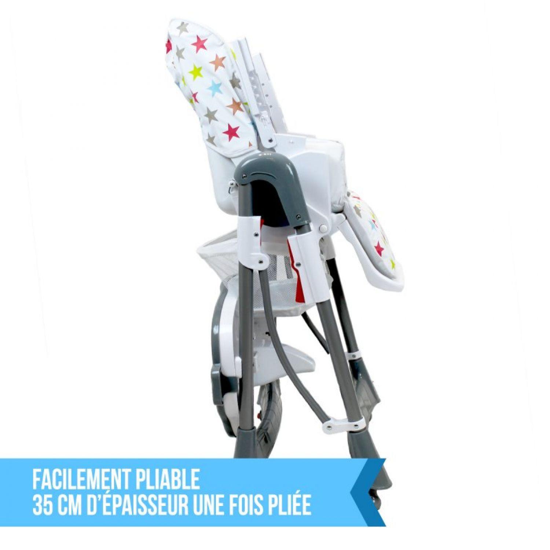 miniature 36 - MONSIEUR BEBE ® CHAISE HAUTE ENFANT PLIABLE RÉGLABLE HAUTEUR DOSSIER ET