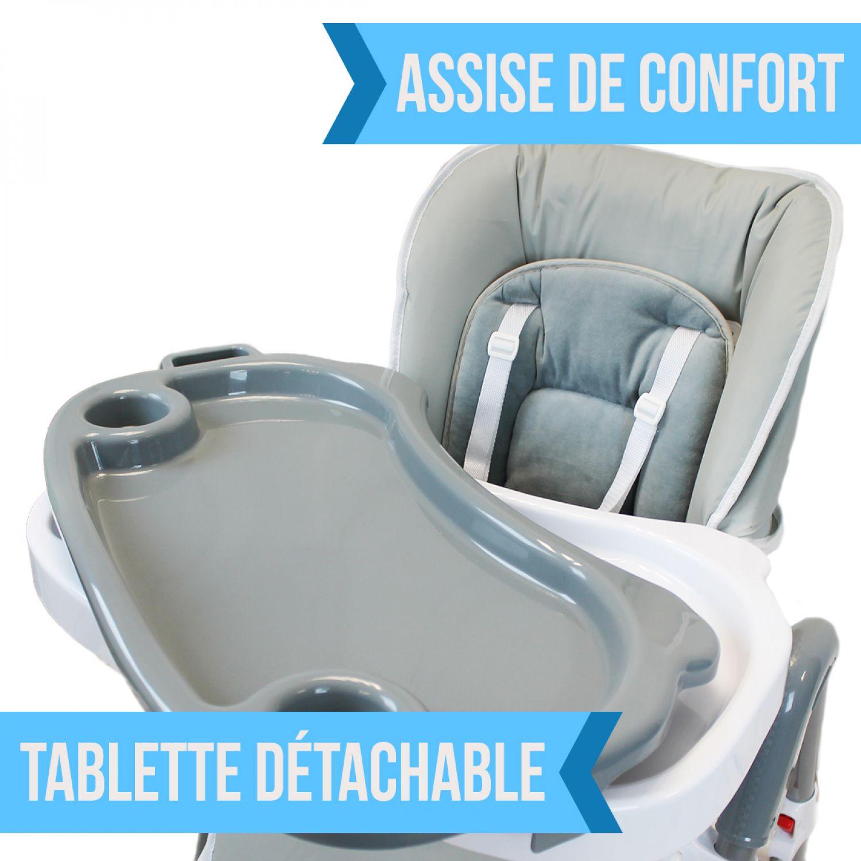 miniature 18 - MONSIEUR BEBE ® CHAISE HAUTE ENFANT PLIABLE RÉGLABLE HAUTEUR DOSSIER ET