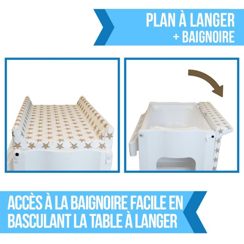 miniature 11 - MONSIEUR BÉBÉ ® TABLE À LANGER AVEC BAIGNOIRE INTÉGRÉE ET RANGEMENTS /